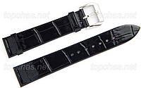Ремінець Slava (Слава) 22 мм для наручних годинників, натуральна шкіра, чорний