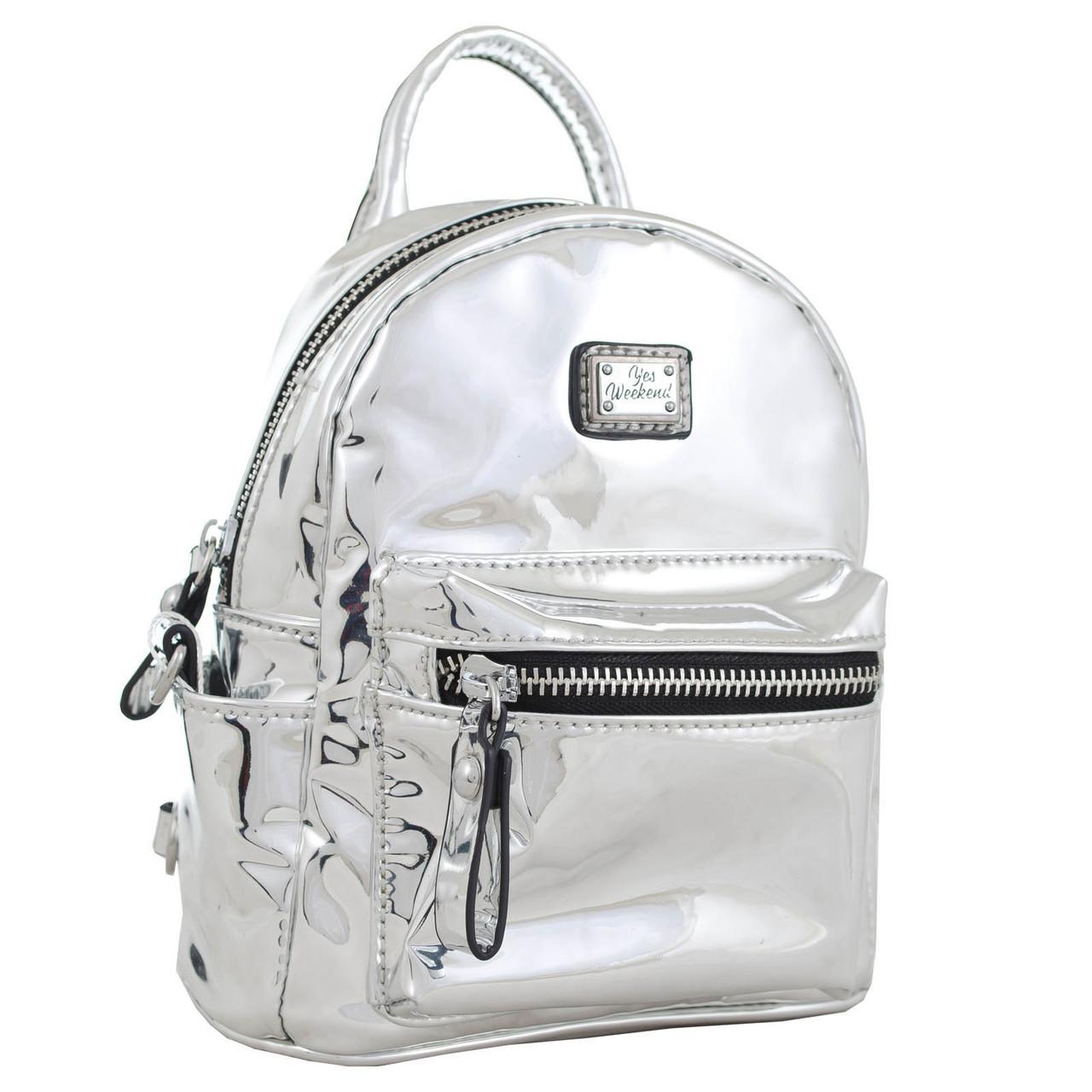cb58558ae573 Женская сумка-рюкзак из экокожи, 1 ВЕРЕСНЯ Mirorr silver 3 л - SUPERSUMKA  интернет