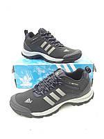Мужские кроссовки Adidas, синие-черные,натуральная кожа,на шнурках