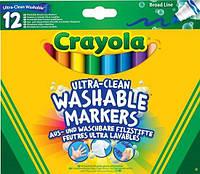 Фломастеры ультра чистое смывание Crayola 12шт толстая линия ассорти цветов
