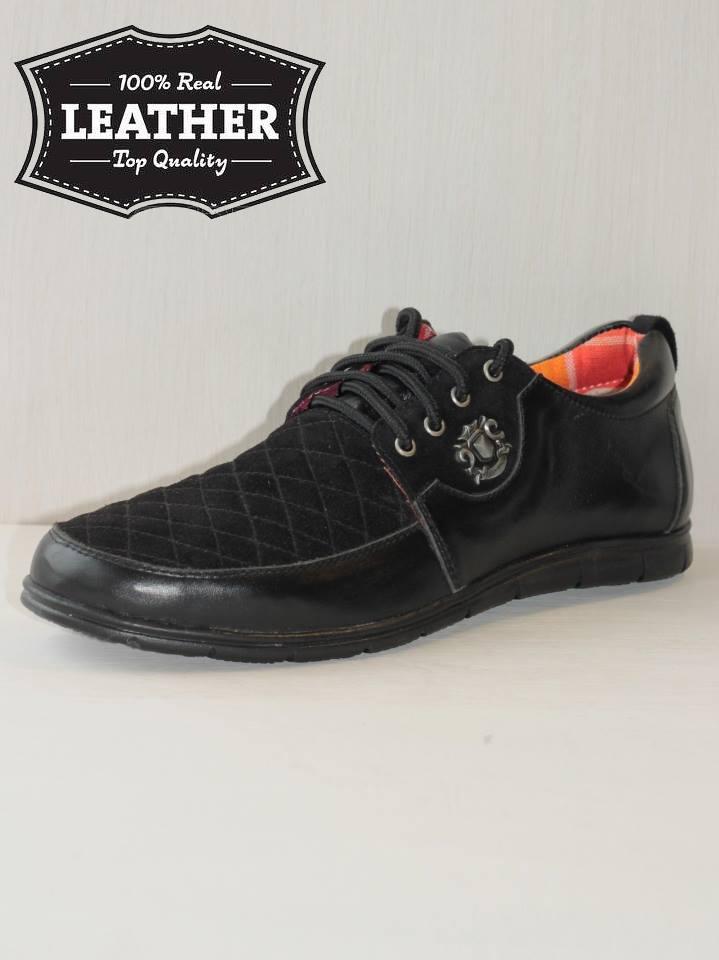 Мужские кожаные туфли M12 комбинированные