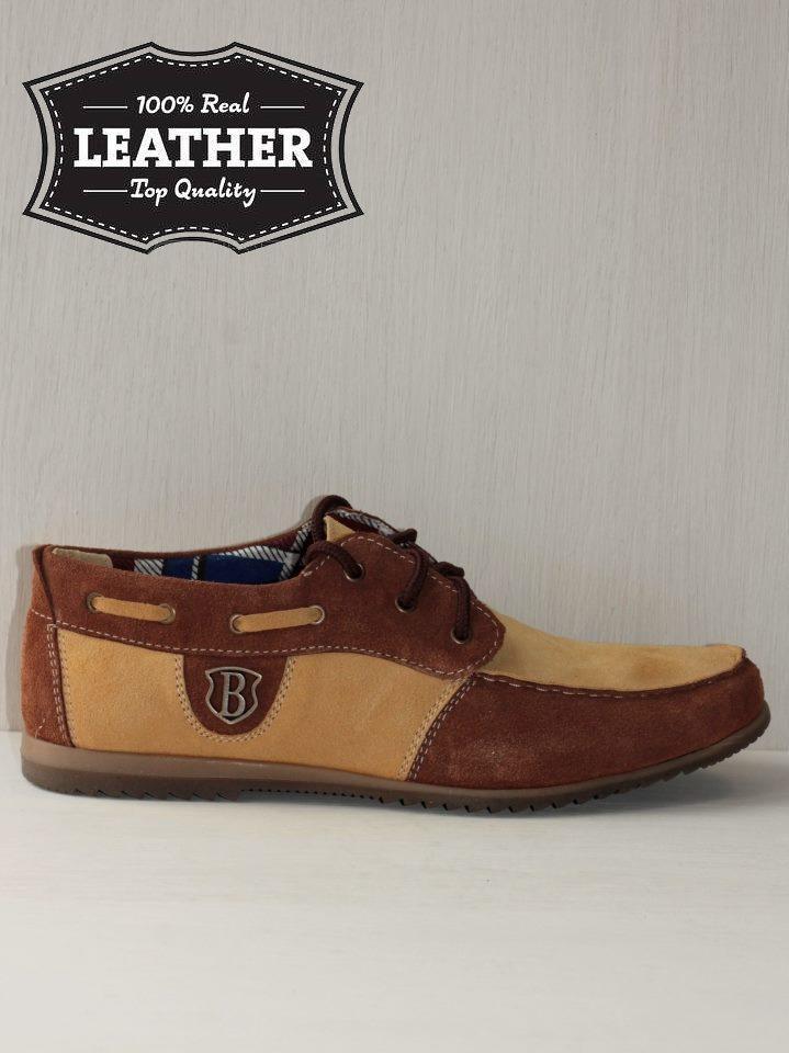 Замшевые мужские туфли M16 комбинированные