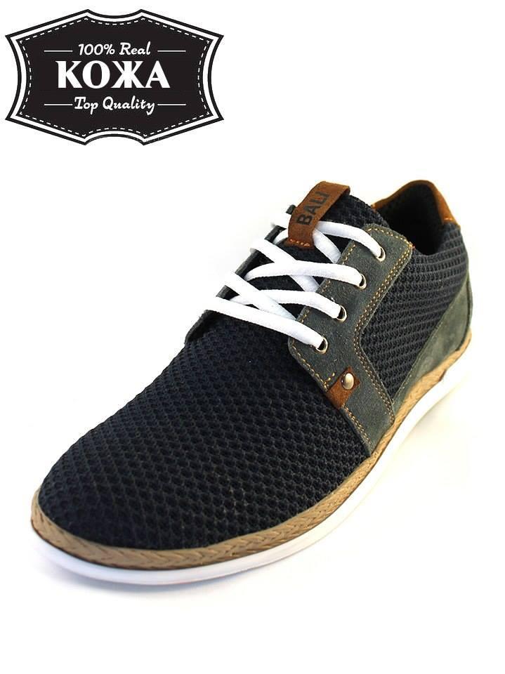 Мужские туфли M22 из натуральной замши и текстиля