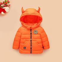 Детская демисезонная куртка капюшон с рожками, фото 3