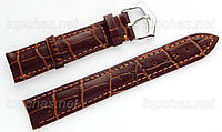 Ремешок Slava (Слава) 18 мм для наручных часов, натуральная кожа, коричневый, строчка