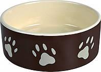 Миска Trixie Ceramic Bowl для собак коричневая, керамика, 0.3 л