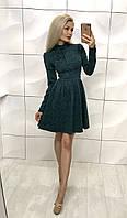 Женское  изумрудное платья из жаккарда