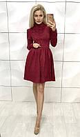Женское платья из жаккарда ,бордовое платья