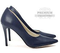 Польские синие женские туфли на шпильке