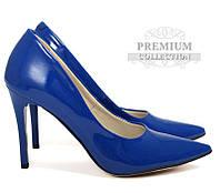 Польские лаковые женские туфли синего цвета
