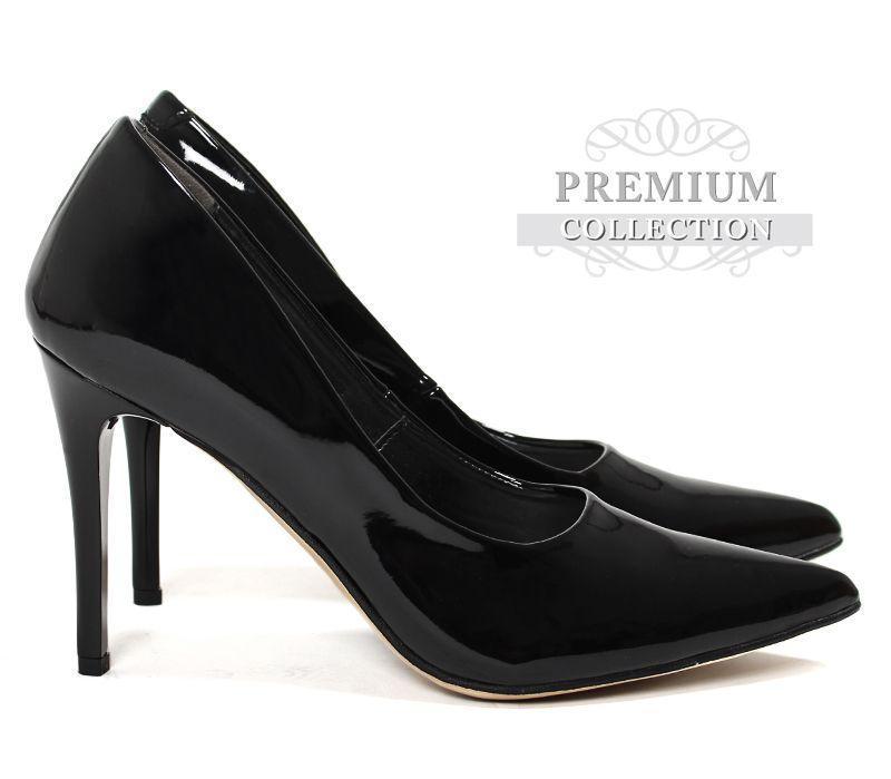 Польские лаковые женские туфли чёрного цвета