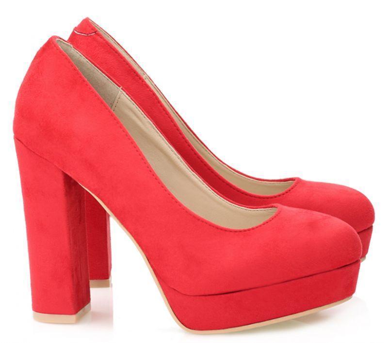 Туфли женские на каблуке, материал - искусственная замша цвет- красный