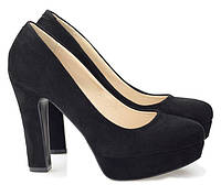 Туфли женские на каблуке, материал - искусственная замша цвет- чёрный размеры 38-40