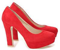Туфли женские на каблуке, материал - искусственная замша цвет- красный, фото 1