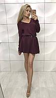 Женское бордовое  платья из ангоры свободного кроя