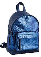 Молодежная сумка-рюкзак из искусственной кожи, 9л. 1 ВЕРЕСНЯ 32*23*11, 553290 синий