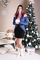 Стильное женское платье Корсет розовый - джинс