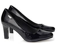 Женские туфли лодочки из лаковой кожи на каждый день чёрного цвета, фото 1