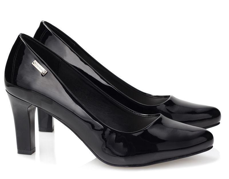 Женские туфли лодочки из лаковой кожи на каждый день чёрного цвета