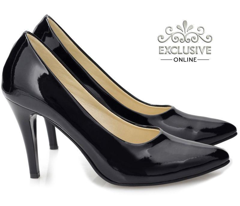 Классические чёрные женские туфли из лаковой кожи размеры 35-40