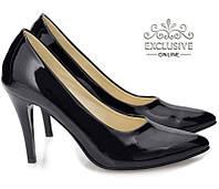 Классические чёрные женские туфли из лаковой кожи размеры 35-40, фото 1