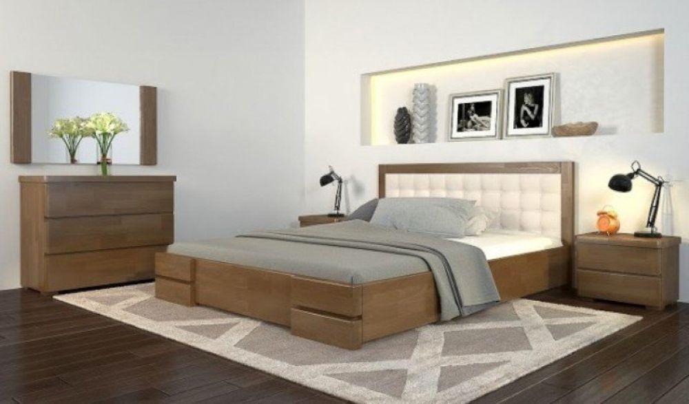 Кровать РЕГИНА с мягким изголовьем из натурального дерева, Арбор Древ - Альянс Магазин в Николаеве