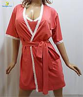 Женский халат с рубашкой хлопковый, р-ры 44-50, Украина