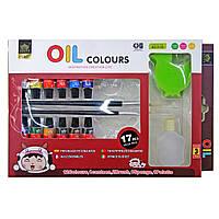 Краски-МАСЛО, 12 цветов / набор+ 2 кисти, + палитра, +фляга. 3172O, 6мл.
