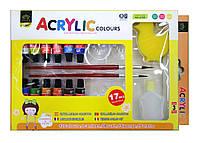 Краски-АКРИЛ, 12 цветов / набор+ 2 кисти, + палитра, +фляга. 3172А, 6мл.