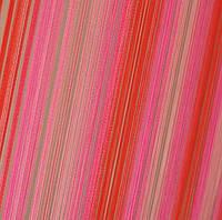 Шторы Нити, кисея радуга вертикальная №122 розовый, красный, беж