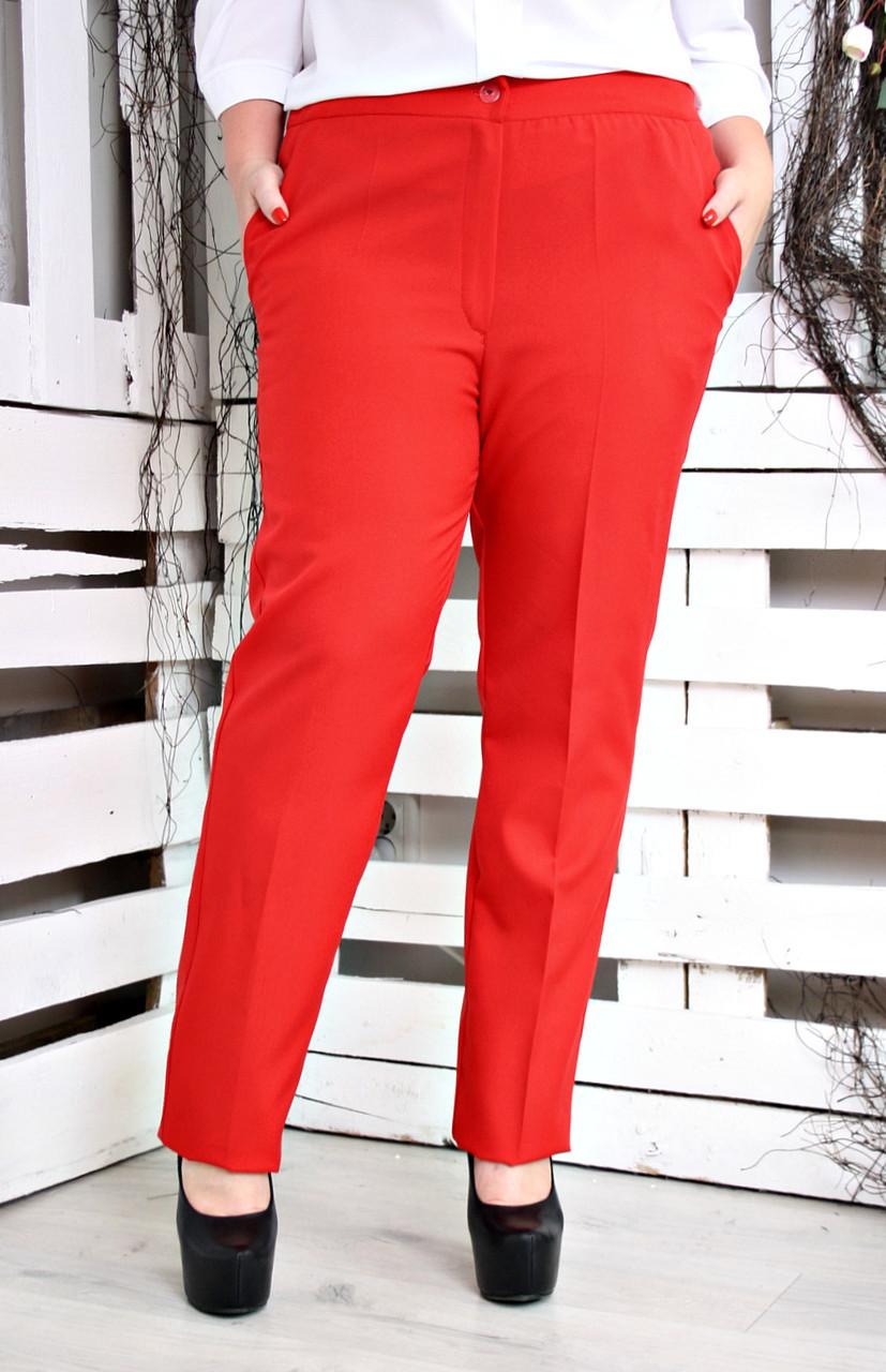 Брюки женские большого размера классические Манго красный c53892e251e0e