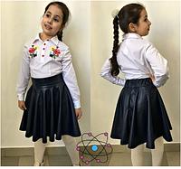 Юбка школьная для девочки(синий),р.8-11 лет