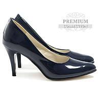 Качественные лаковые женские туфли синего цвета