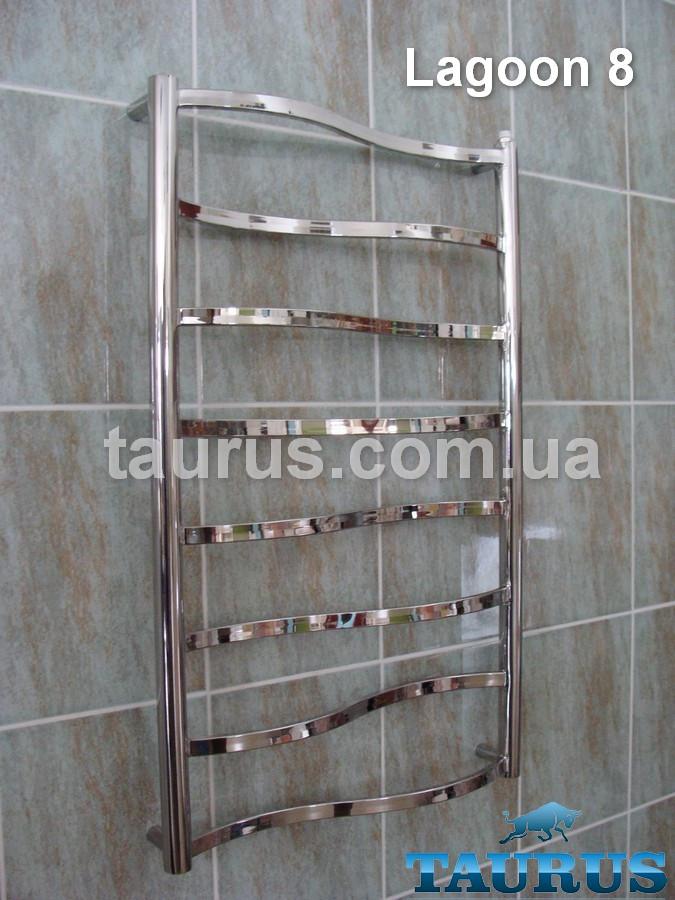 Полотенцесушитель Lagoon 8/500 для ванної кімнати; перемичка прямокутна 20х10 вигнута хвилею