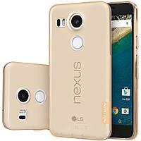 Чехол накладка для LG Nexus 5X H791 силиконовый прозрачный, NILLKIN Nature 0.6 mm Золотистый