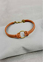 Браслет кожаный коричневый с кольцом (ручная работа)