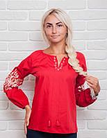 Современная женская вышиванка с растительным узором, красная