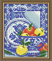 """Набор алмазной вышивки (мозаики) """"Натюрморт с яблоками. Гжель"""""""