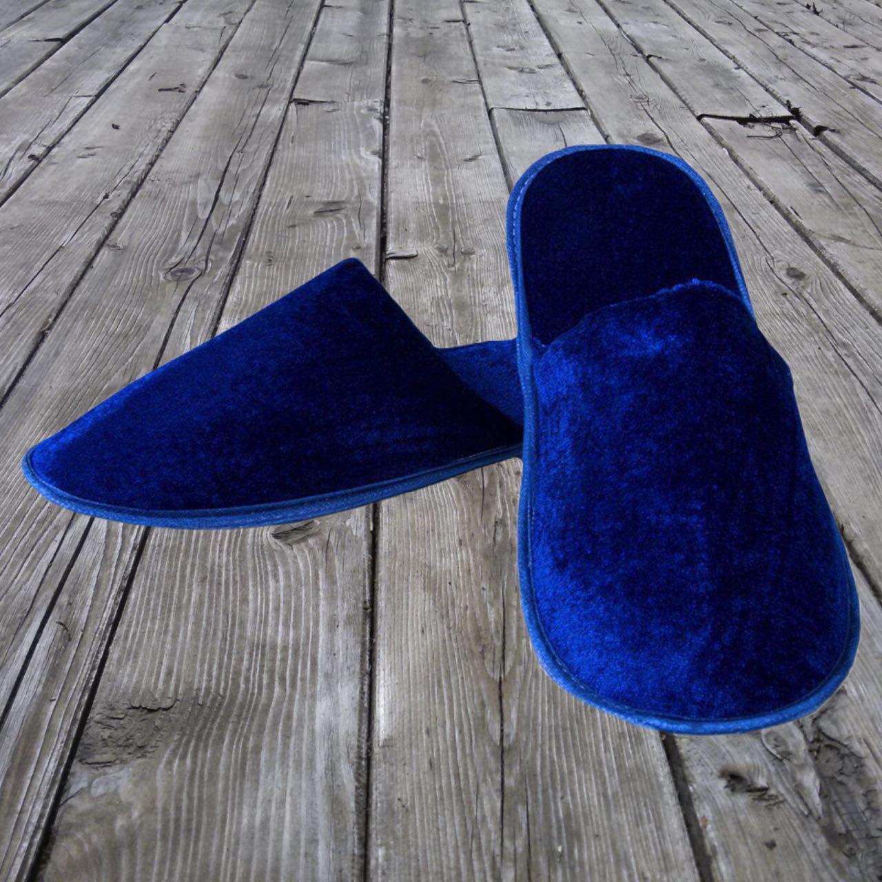 Тапочки гостевые EURO TEXTILE велюровые (закрытый мыс) синие для дома, офиса, гостиниц и SPA
