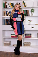 Молодежное платье Кубик джинс - коралл