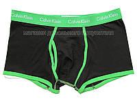 Мужские трусы боксёры Calvin Klein серия 365 чёрные с зелёной окантовкой