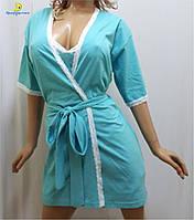 Женский халат с рубашкой хлопковый, р-ры от 44 до 50, Украина Мята