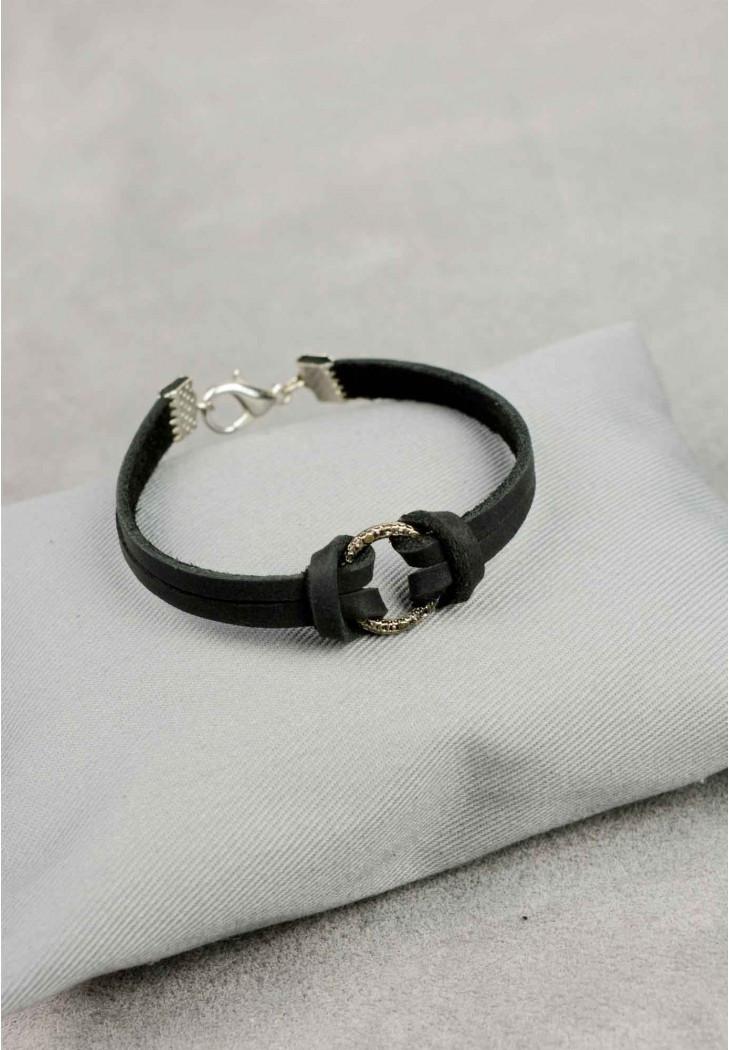 Браслет кожаный черный с кольцом (ручная работа)