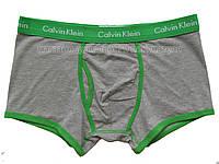 Мужские боксёры (хипсы) Calvin Klein 365 серые с зеленой окантовкой