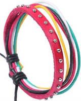 Кожаный браслет разноцветый