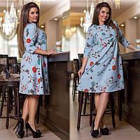 """Расклешенное миди-платье в цветочек """"Garine"""" с рукавом 3/4 (большие размеры)"""