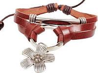 Кожаный браслет с подвеской Цветок