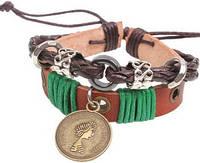 Кожаный браслет с монетой