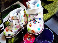 Детские Белые деми Ботинки для девочки с Бабочками  р.22,23,25,26