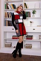 Платье вязанное женское Кубик графит - вишня